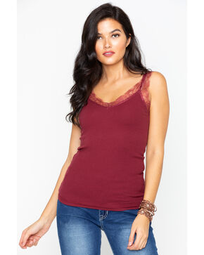 Miss Me Women's Solid Knit Scallop Lace Tank , , hi-res