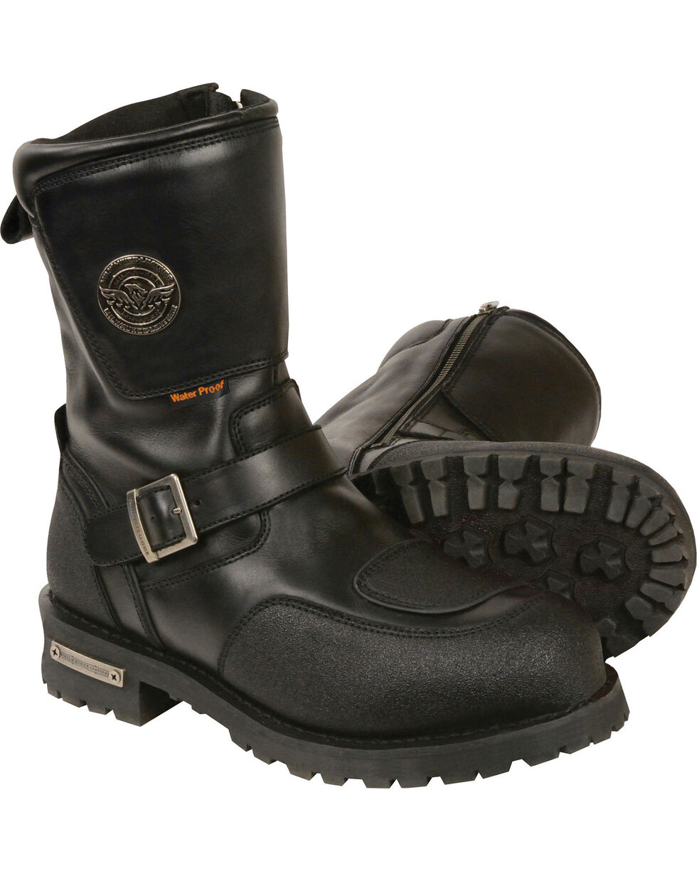 "Milwaukee Leather Men's Black 9"" Waterproof Gear Shirt Protection Boots - Round Toe , Black, hi-res"