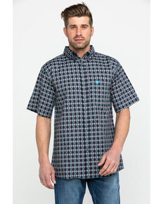 Cowboy Hardware Men's Jacquard Plaid Short Sleeve Western Shirt , Grey, hi-res