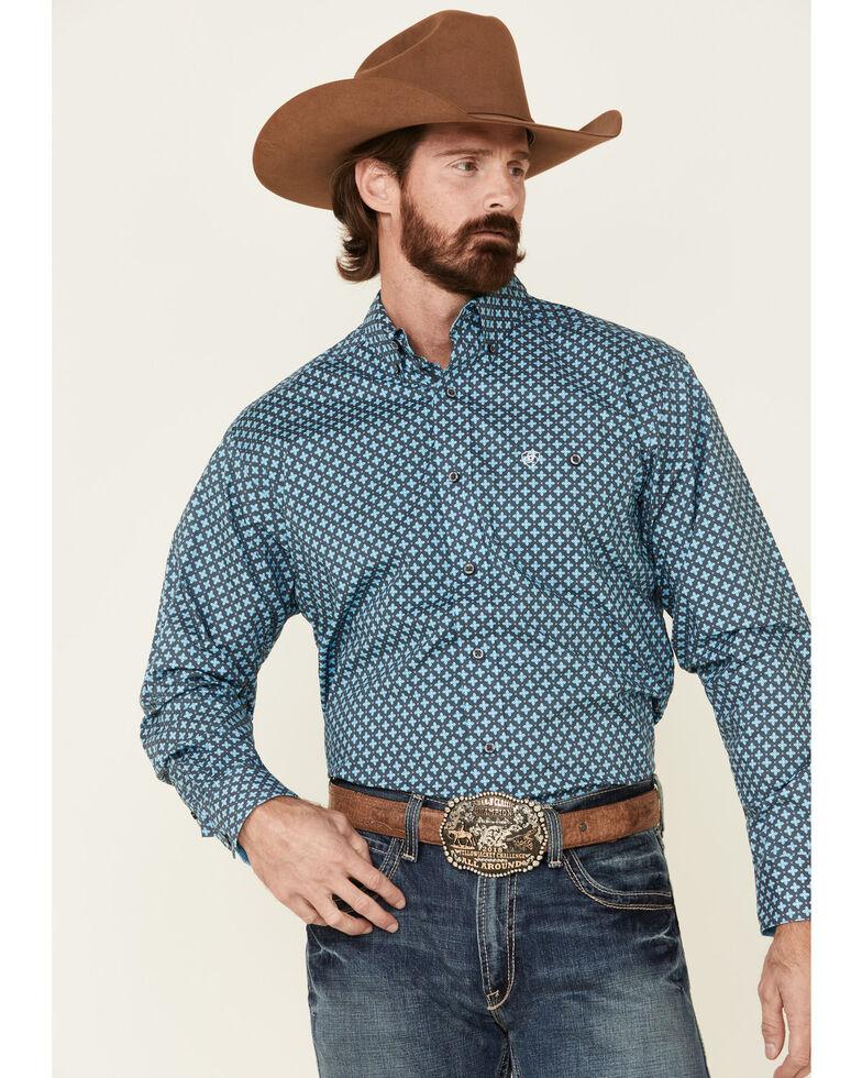 Ariat Men's Grey Unyielding Stretch Geo Print Long Sleeve Western Shirt , Grey, hi-res