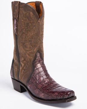 Lucchese Handmade Maple Dwight Caiman Cowboy Boots - Snip Toe  , Light Brown, hi-res
