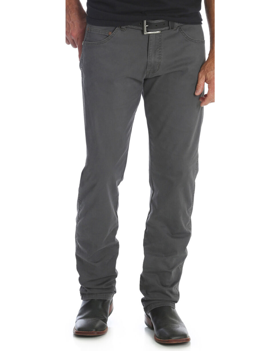 Wrangler Men's Smoke Retro Slim Fit Jeans - Straight Leg , Dark Grey, hi-res