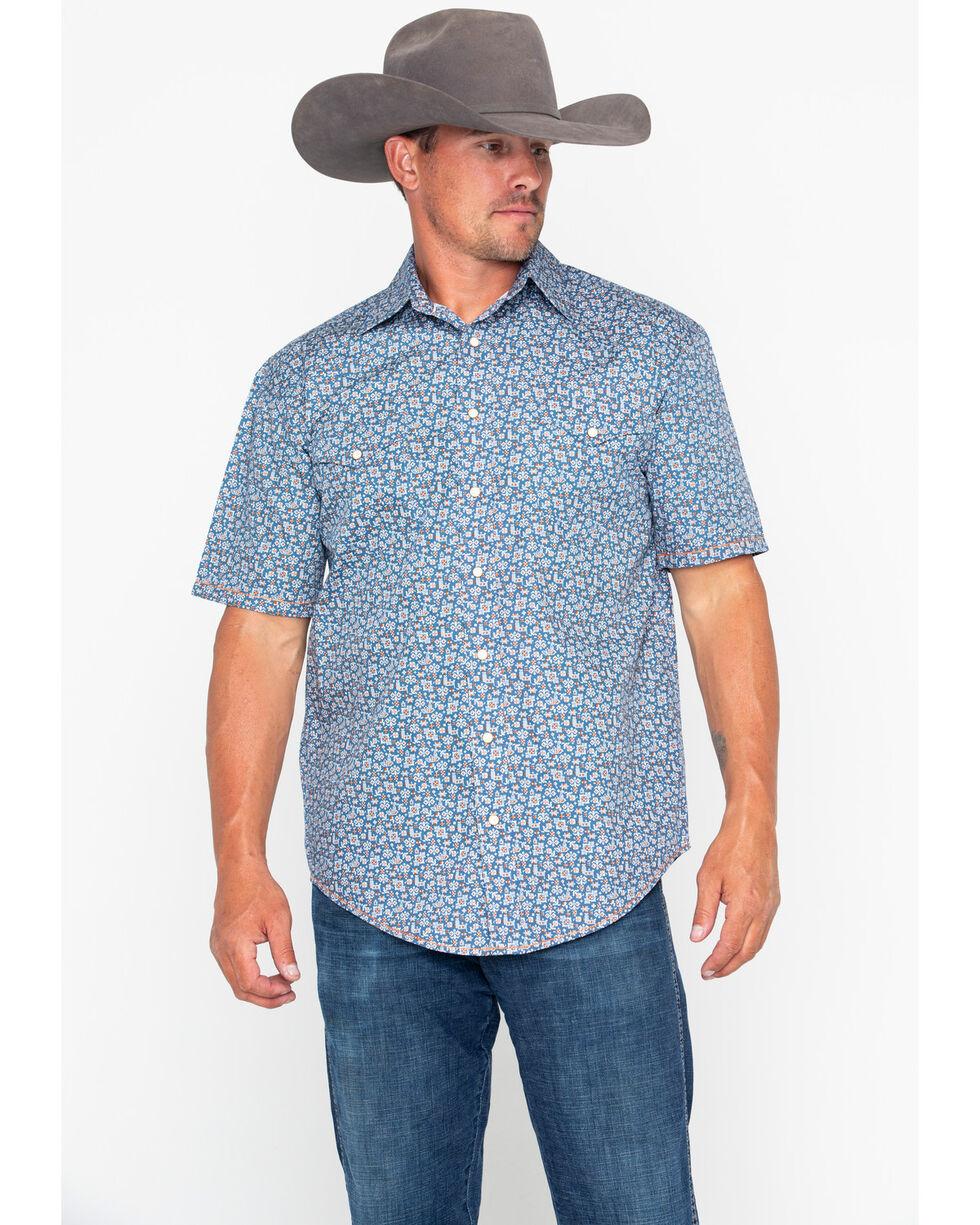 Panhandle Men's Rough Stock Praha Vintage Print Short Sleeve Western Shirt , Navy, hi-res