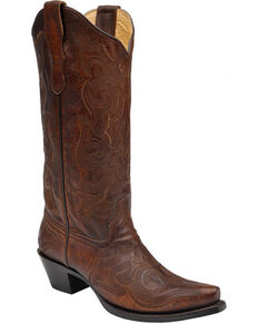Corral Wide Stitched Cowgirl Boots - Snip Toe, Brown, hi-res