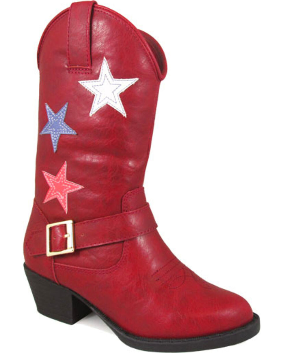 Smoky Mountain Toddler Girls' Red Star Bright Cowboy Boots - Round Toe , Red, hi-res