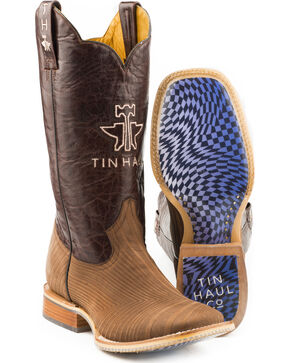 Tin Haul Men's Rough Hewn Warped Sole Cowboy Boots - Square Toe, Brown, hi-res