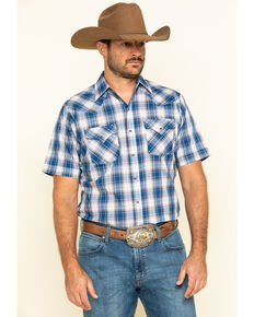 Ely Cattleman Men's Blue Textured Plaid Short Sleeve Western Shirt - Big , Blue, hi-res