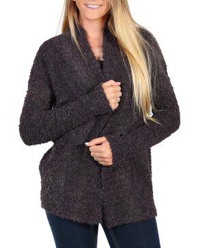 Shyanne Women's Knitted Tassel Fringe Trim Sweater, Purple, hi-res