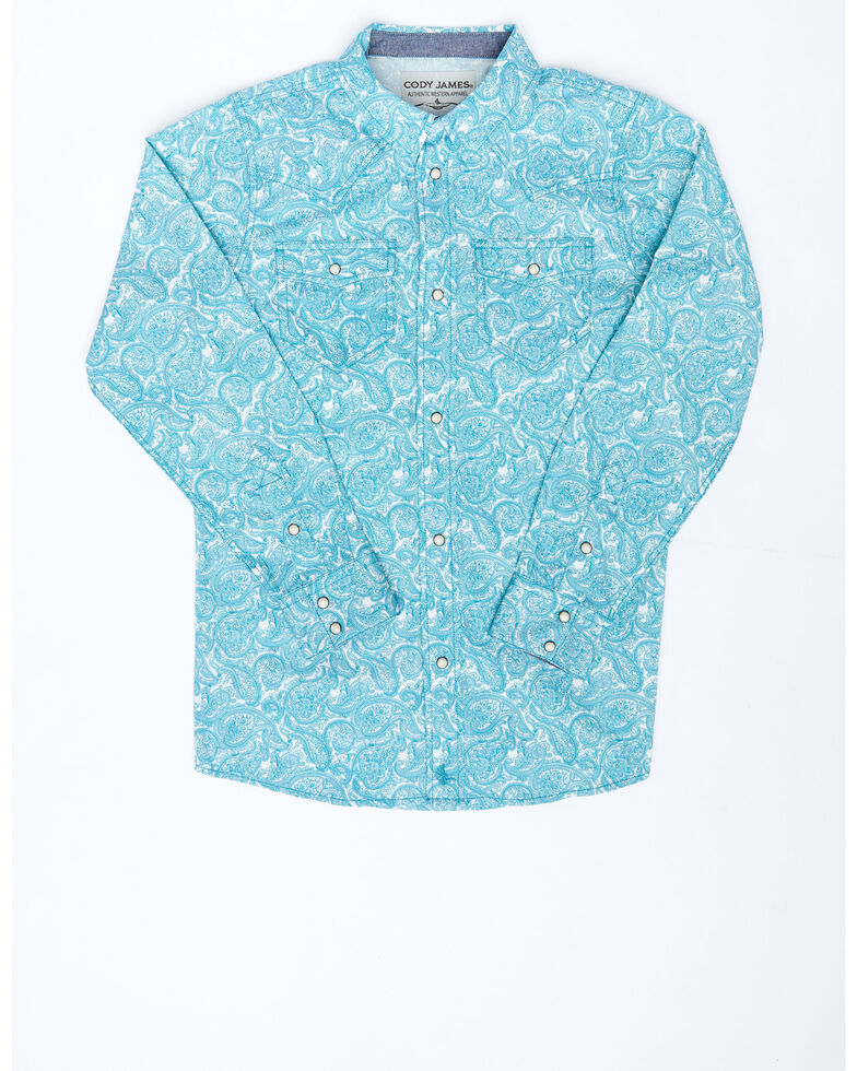 Cody James Boys' Bronco Floral Print Long Sleeve Snap Western Shirt , Blue, hi-res