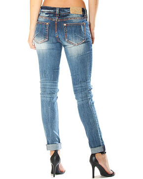 Grace in LA Women's Distressed Skinny Jeans , Indigo, hi-res