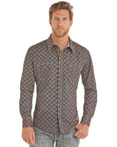 Rock & Roll Cowboy Grey Poplin Print Long Sleeve Western Shirt , Grey, hi-res