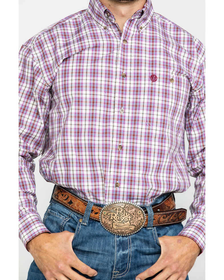 George Strait by Wrangler Men's Burgundy Med Plaid Long Sleeve Western Shirt , Burgundy, hi-res