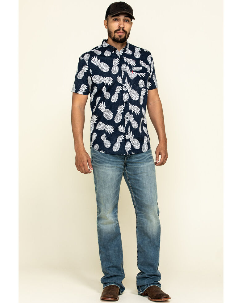 Levis Men's Navy Maverick Print Short Sleeve Western Shirt , Navy, hi-res