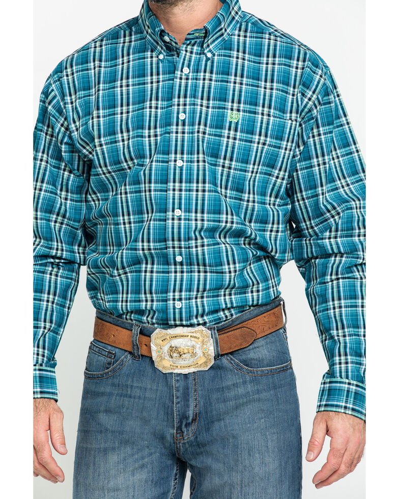 Cinch Men's Teal Large Plaid Long Sleeve Western Shirt , Teal, hi-res