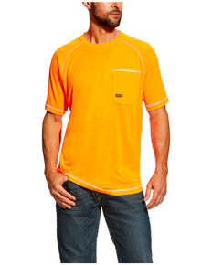 Ariat Men's Orange Rebar Sunstopper Short Sleeve Work Shirt , Orange, hi-res
