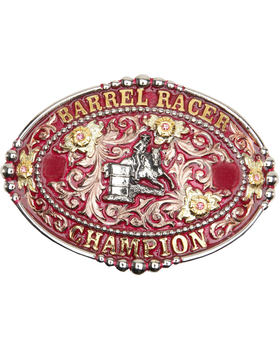 "AndWest Women's ""Barrel Racer Champion"" Pink Belt Buckle, Two Tone, hi-res"