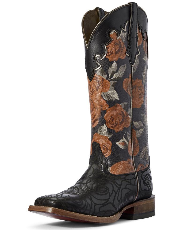Ariat Women's Fonda Rose Print Western Boots - Wide Square Toe, Black, hi-res