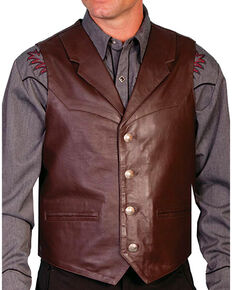 Scully Men's Lambskin Lapel Vest - Big, Brown, hi-res