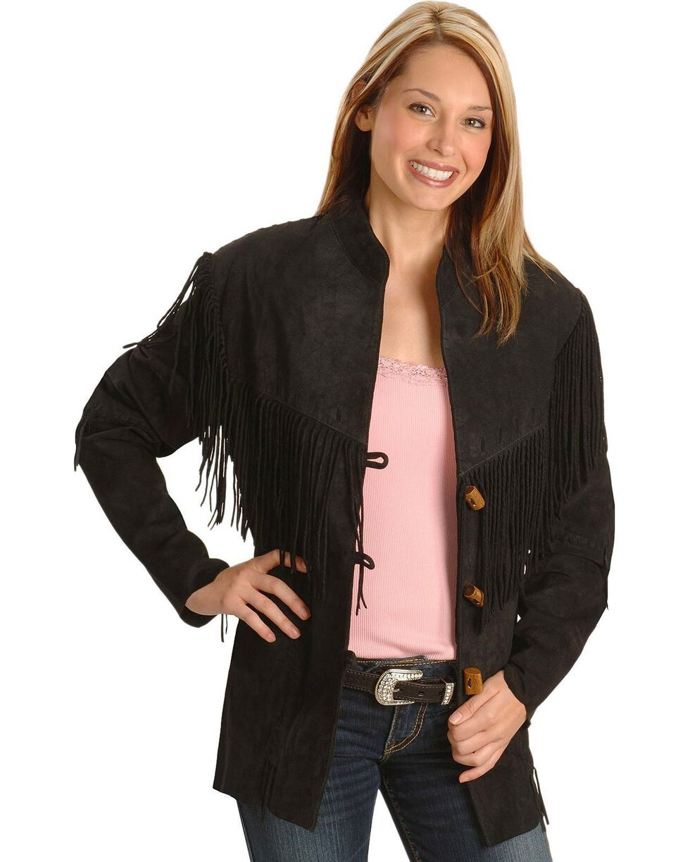 Scully Women's Fringe Jacket, Black, hi-res