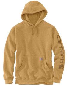 Carhartt Men's Yellowstone Heather Midweight Signature Sleeve Hooded Work Sweatshirt , Yellow, hi-res