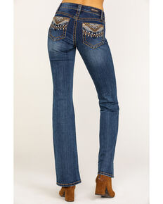 Shyanne Women's Medium Aztec Back Pocket Bootcut Jeans , Blue, hi-res