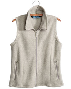 Tri-Mountain Women's Oatmeal 2X Crescent Fleece Vest - Plus, Oatmeal, hi-res