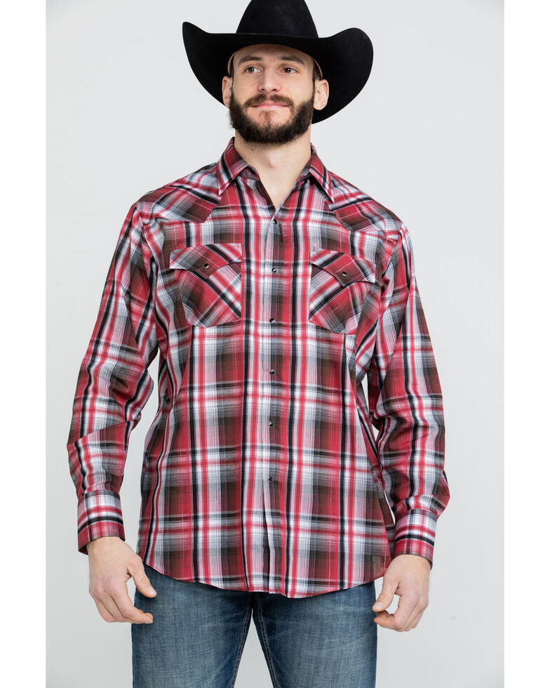 Ely Cattleman Men's Assorted Red Medium Plaid Long Sleeve Western Shirt , Red, hi-res