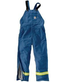 Carhartt Flame Resistant Reflective Quilt Lined Duck Bib Overalls, Royal, hi-res