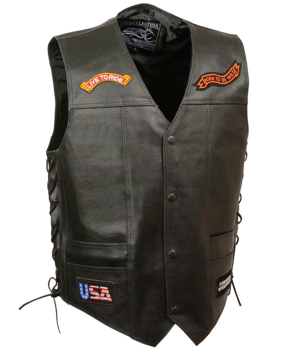 "Milwaukee Leather Men's Side Lace ""Live to Ride"" Patch Vest, Black, hi-res"
