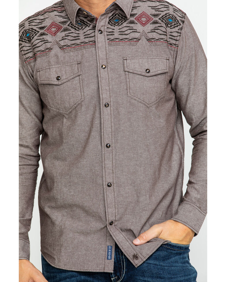 Moonshine Spirit Men's Peace Pipe Solid Aztec Embroidered Long Sleeve Western Shirt , Brown, hi-res