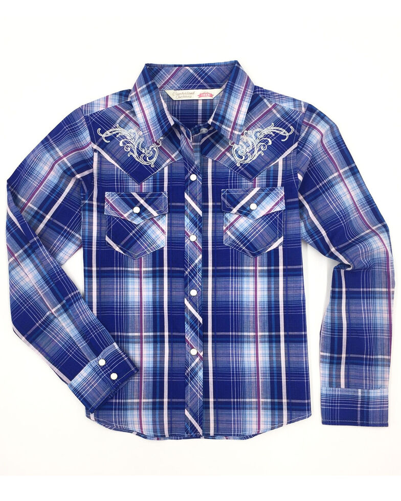 Cumberland Outfitters Girls' Blue Plaid Embroidered Snap Long Sleeve Western Shirt, Blue, hi-res