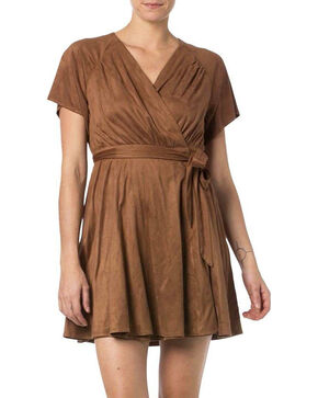 Miss Me Women's Faux Suede Wraparound Dress, Brown, hi-res