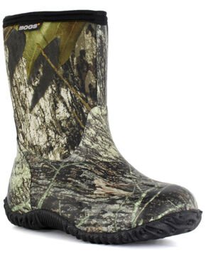 Bogs Boys' Classic Mid Mossy Oak Waterproof Boots - Round Toe, Moss Green, hi-res