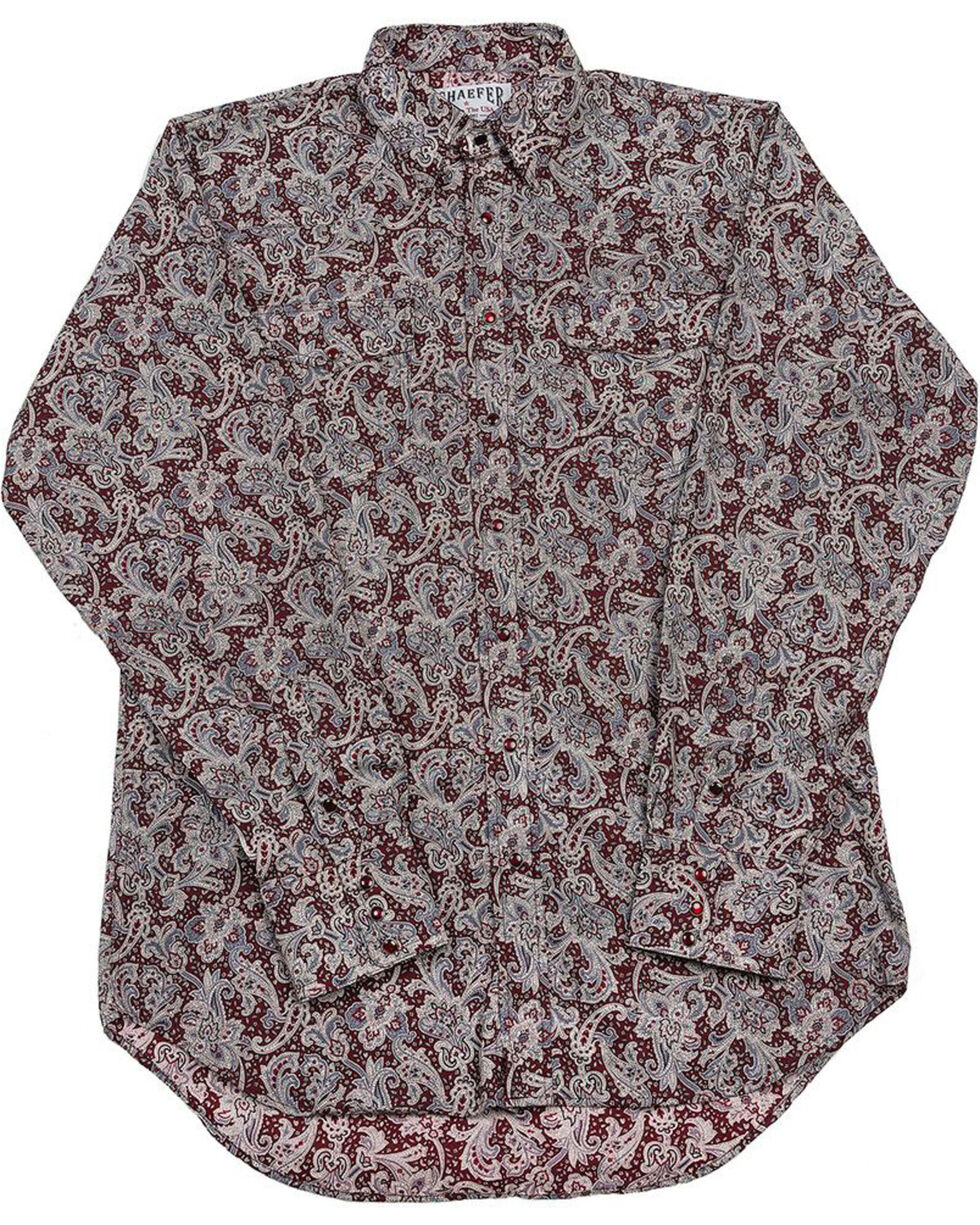 Schaefer Outfitter Men's Burgundy Frontier Paisley Western Snap Shirt - 2XL, Burgundy, hi-res