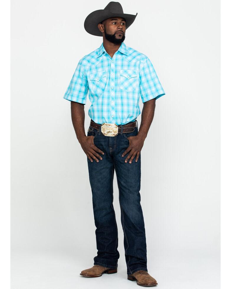 Wrangler 20X Men's Advanced Comfort Blue Plaid Short Sleeve Western Shirt , Blue, hi-res