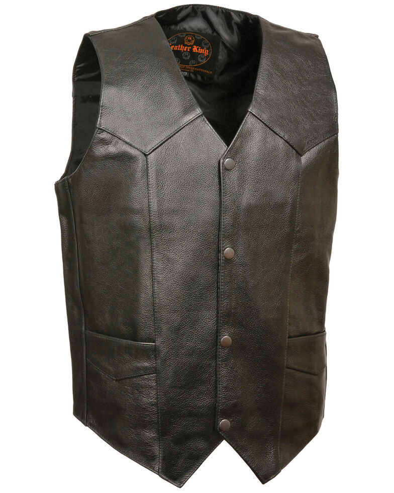 Milwaukee Leather Men's Black Snap Front Biker Vest , Black, hi-res