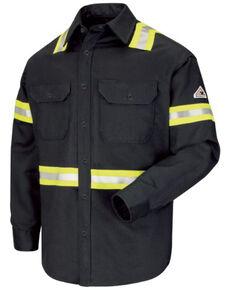 Red Kap Men's Enhanced Visibility FR Excel Long Sleeve Work Shirt  , Light Blue, hi-res