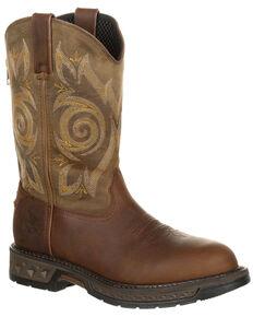 Georgia Boot Men's Carbo-Tec LT Western Work Boots - Round Toe, Brown, hi-res
