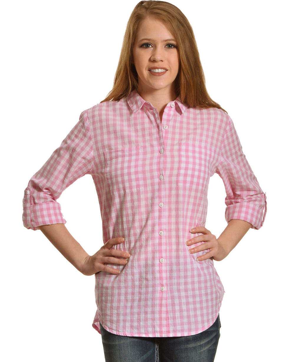 New Direction Sport Women's Gingham Plaid Shirt , Pink, hi-res
