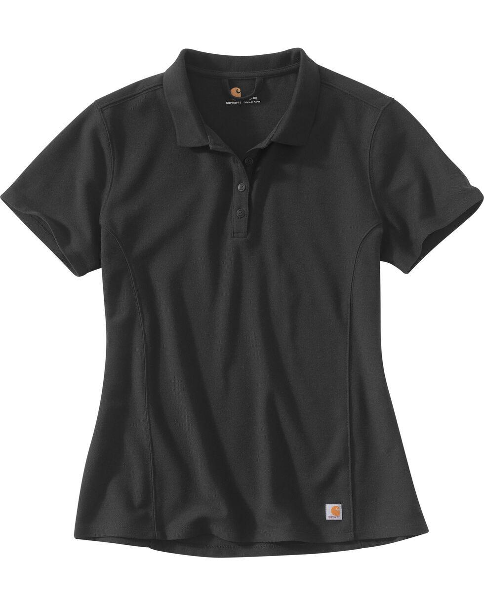 Carhartt Women's Contractor's Short Sleeve Work Polo , Black, hi-res