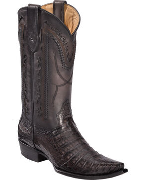 Corral Men's Grey Caiman Laser Cutout Cowboy Boots - Snip Toe, Grey, hi-res
