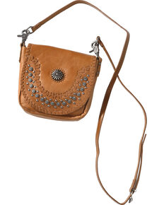 Montana West Womens Brown Patina Stud Leather Crossbody Bag Hi Res