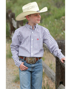 Cinch Boys' Multi Check Plaid Long Sleeve Western Shirt , Multi, hi-res