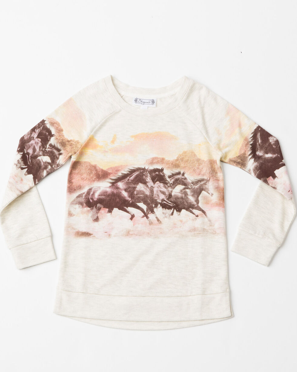 Shyanne Girls' Scenic Horse Print Long Sleeve Top , Ivory, hi-res