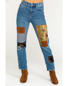 Free People Women's Poppy Patch Jeans, Blue, hi-res