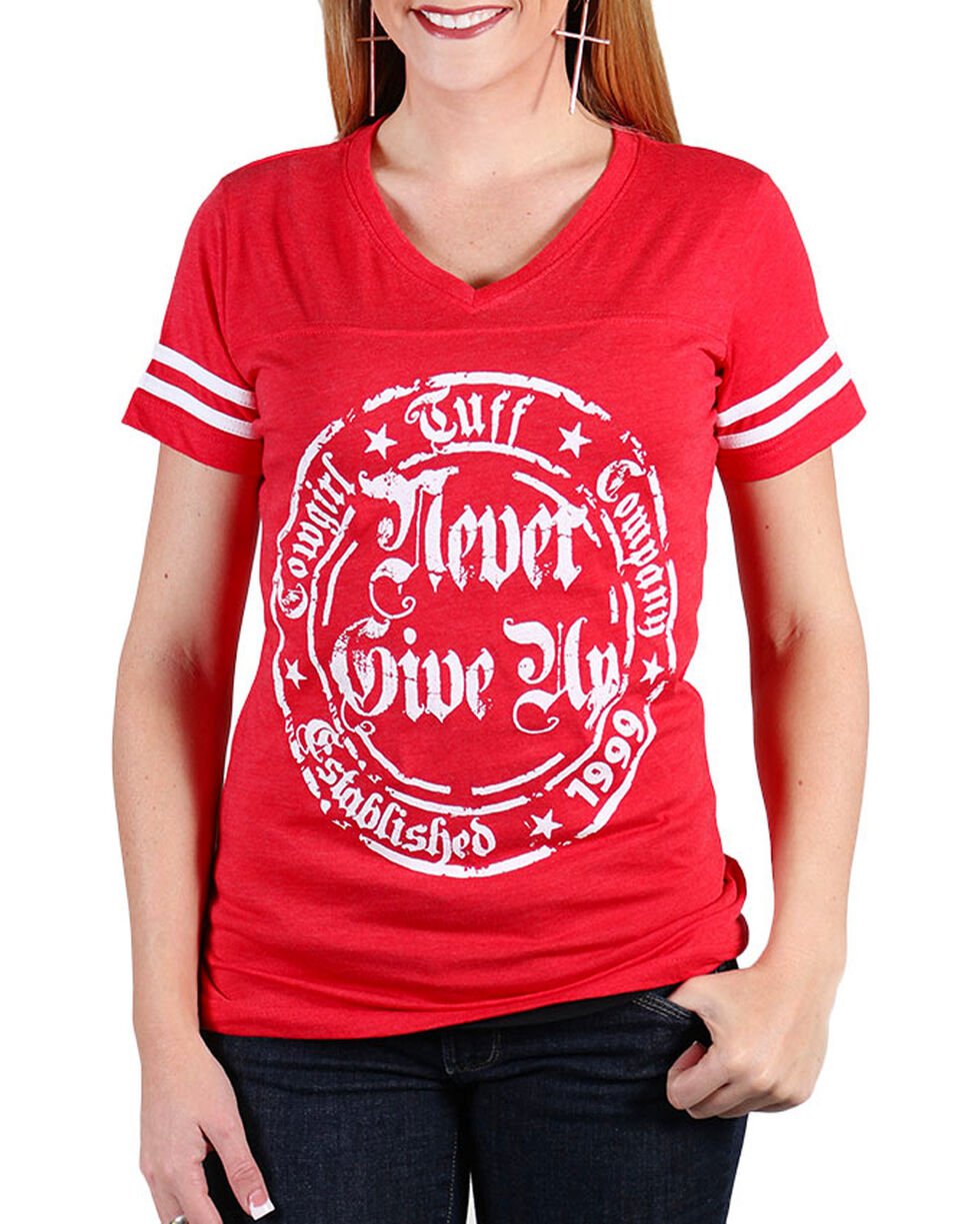 Cowgirl Tuff Women's Never Give Up V-neck Tee, Red, hi-res
