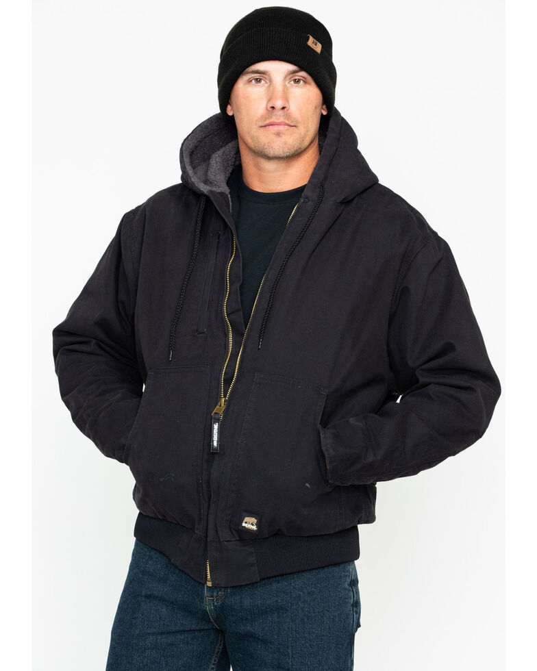 Berne Men's Flex 180 Washed Hooded Work Jacket - Big , Black, hi-res