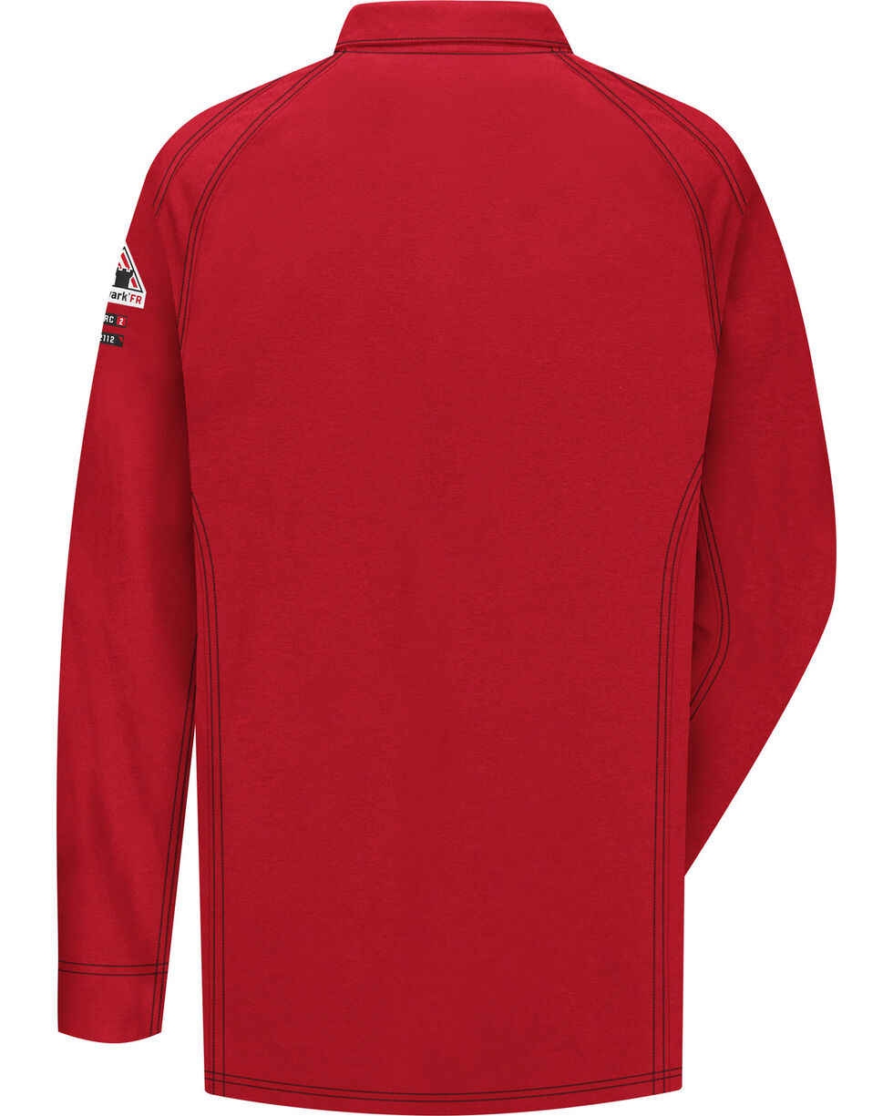 Bulwark Men's Red iQ Series Flame Resistant Long Sleeve Polo - Big & Tall , Red, hi-res