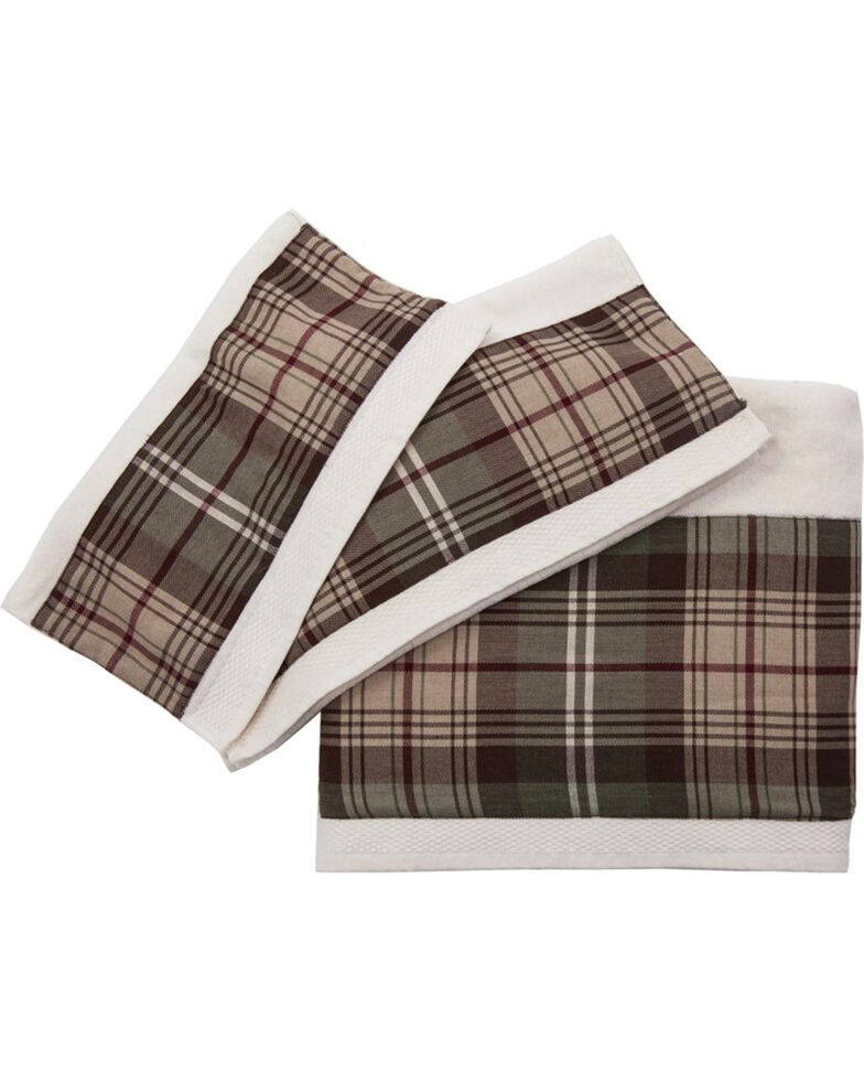 HiEnd Accents Forest Pines Plaid Towel Set, Cream, hi-res