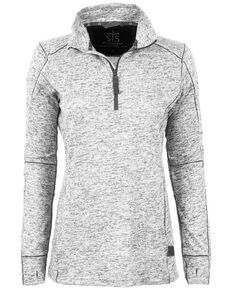 STS Ranchwear Women's Quarter Zip Lightweight Base Layer Jacket, Heather Grey, hi-res